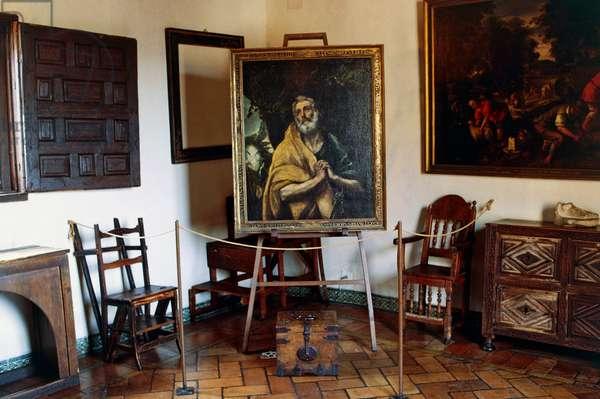 Interior of house of El Greco (1541-1614) with his painting Las lagrimas de San Pedro (Tears of St Peter), 1580, oil on canvas, Toledo, Castilla-La Mancha, Spain