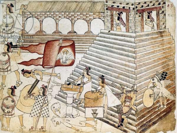 Warriors defending Great Temple of Tenochtitlan, last Aztec stronghold, Mexico, illustration from Codex Azcatitlan Aztec Civilization, 16th century