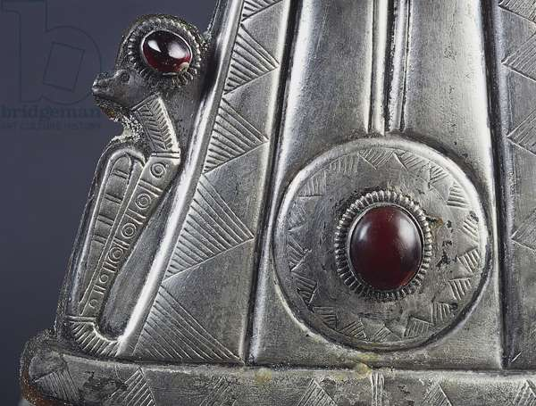 Detail from Ballana crown, silver and semiprecious stones, uncovered in cemetery of Ballana, near Aswan, dating from post-Meroitic period (350-600 AD), Egyptian civilization, 4th-7th century AD