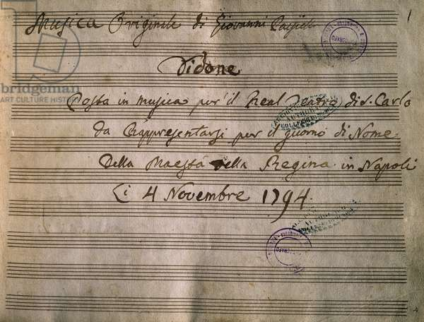 Frontispiece of the autograph music score of Dido, by Giovanni Paisiello (1740-1816)