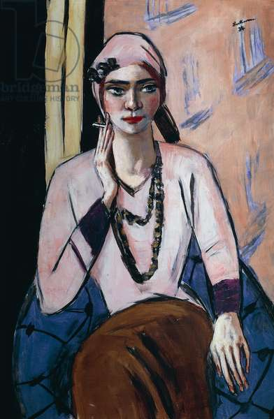 Quappi in a pink sweater, 1932, by Max Beckmann (1884-1950), oil on canvas, 105x73 cm. Germany, 20th century.