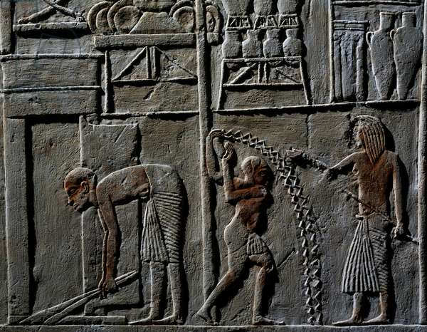 Relief from Tomb of Horemheb, Tutankhamun's reign (1332-1323 BC), Egyptian civilization, XVIII Dynasty (1570-1293 BC)