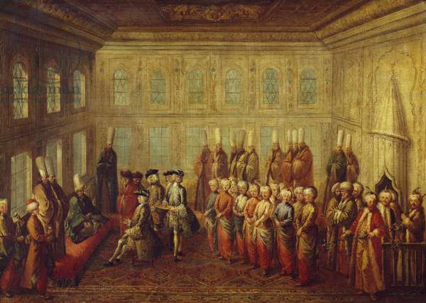 Charles-Marie-Francois Olier, Marquis of Nointel, French ambassador in Constantinople between 1670 and 1679, being interviewed by the Grand Vizier Kurpili, Turkey, 17th century