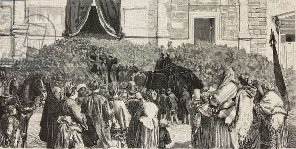 The crowd follows the funeral procession of the Spanish painter Mariano Fortuny (1838-1874) to the Basilica of Santa Maria del Popolo, November 24, 1874, Rome, Italy, L'Illustrazione Universale, year 2, no 9, December 13, 1874