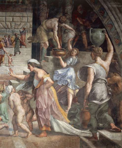 Fire in the Borgo, 1514-1517, workshop of Raphael (1483-1520), fresco, Room of the Fire in the Borgo, Apostolic Palace, Vatican City, Detail