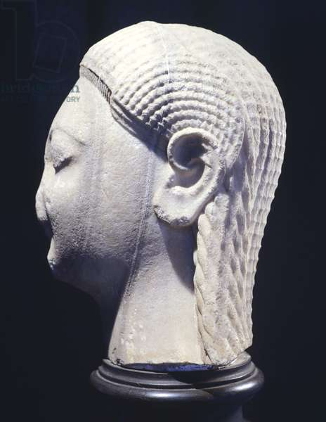 Head of kouros, marble sculpture from the archaic age from Samos (Greece). Greek Civilization, 6th Century BC.