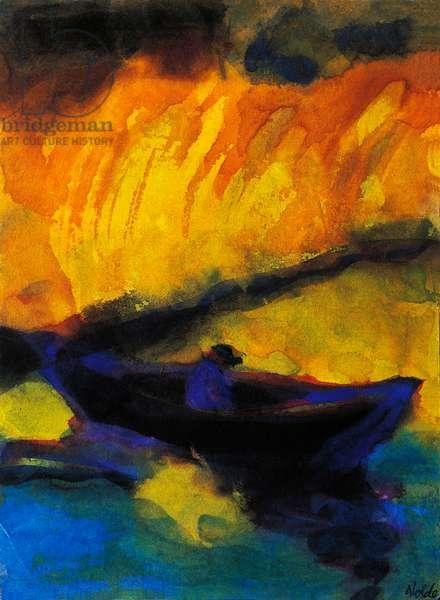 Dreamer in boat, by Emil Nolde (1867-1956), watercolour. Germany, 20th century.