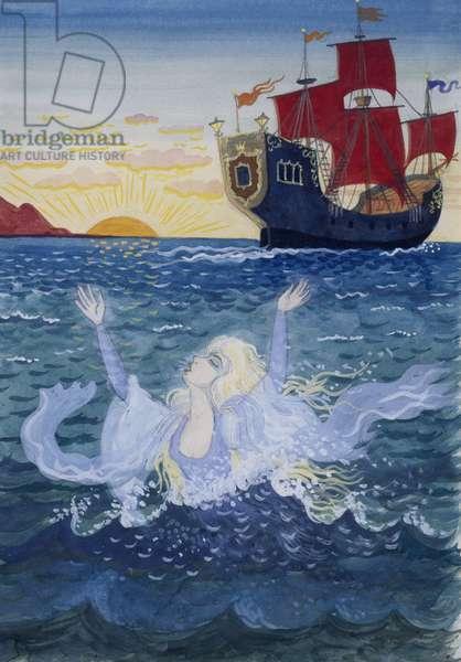 Little Mermaid, illustration by Lorenz Frolich (1820-1908) for fairy tale by Hans Christian Andersen (1805-1875)