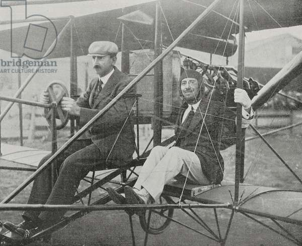 Gabriele d'Annunzio (1863-1938) taking off on first flight with pilot Glenn Hammond Curtiss (1878-1930) at the Aerial Circuit of Brescia, 1909, Italy, photo by Fiorilli
