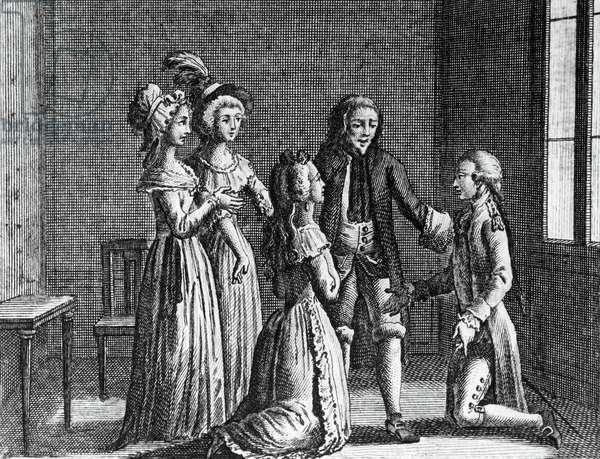 Illustration for last scene of curious incident, comedy by Carlo Goldoni (1707-1793), engraving, from Opere teatrali del sig avvocato Carlo Goldoni veneziano, published by Antonio Zatta e figli, 1789, Venice