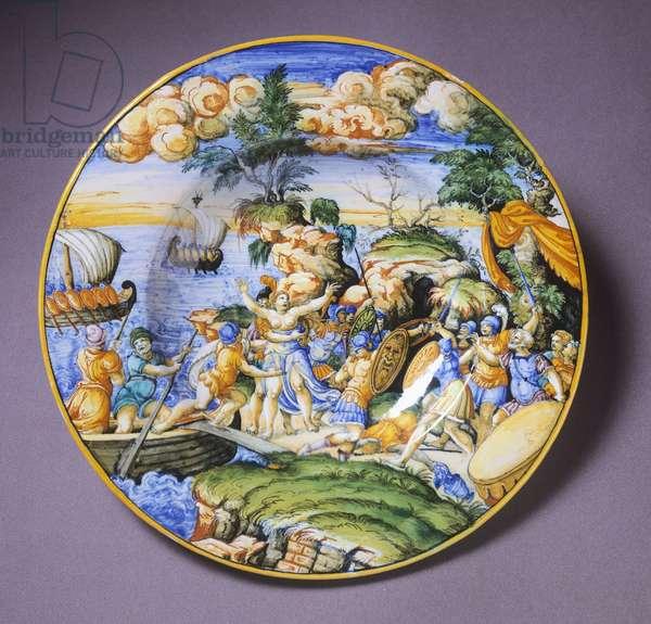 Plate depicting Rape of Sabine, ceramic, Urbino manufacture, Italy, ca 1550