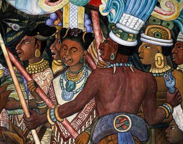 Group of Totonac, Totonaca civilisation, 1950, by Diego Rivera (1886-1957), detail from the National Palace frescoes, Mexico City. Mexico, 20th century.