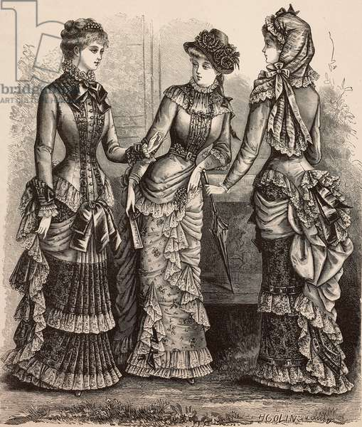 Women wearing Pompadour foulard and voile dress, in the center, and batiste dress, front and back, Madame Coussinet designs, engraving from La Mode Illustree, No 28, July 9, 1882
