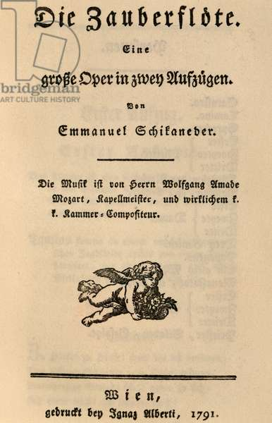 Title page of The Magic Flute, 1791, by Wolfgang Amadeus Mozart (1756-1791), Austria, 18th century