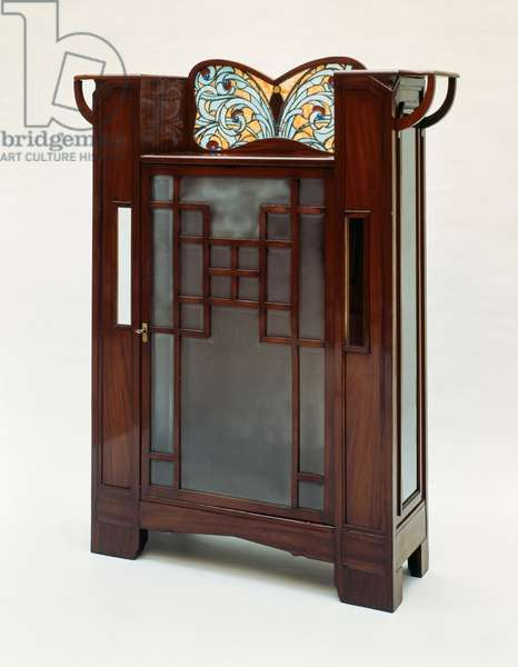 Mahogany display case with stained-glass window, c.1900