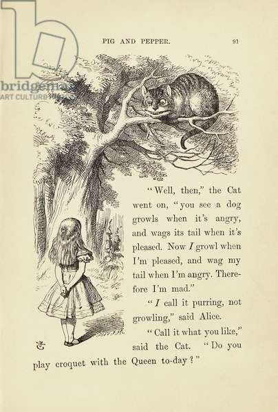 Alice and Cheshire Cat, 1891, illustration by John Tenniel (1820-1914) for Alice in Wonderland, by Lewis Carroll (1832-1898), United Kingdom, 19th century