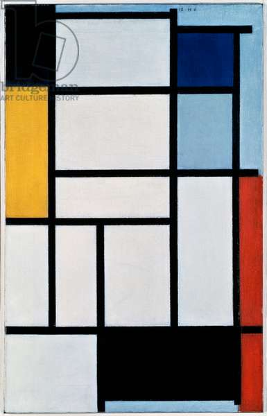 Composition with red, black, yellow, blue and grey, 1921, by Piet Mondrian (1872-1944), oil on canvas. Netherlands, 20th century.