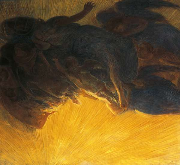 creation of light, 1913, by Gaetano Previati (1852-1920), oil on canvas, 199x215 cm