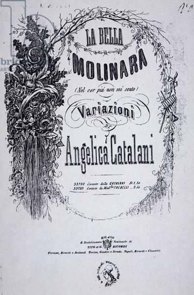 Title page of sheet music for beautiful miller-woman, variation by Angelica Catalani (1780-1849) on work of Giovanni Paisiello (1740-1816)