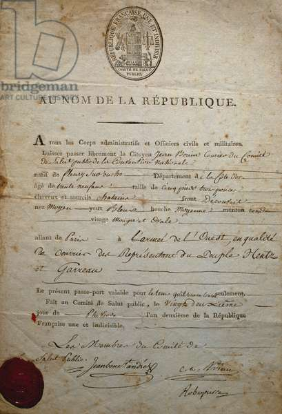 Passport signed by Andre Jeanbon Saint Andre and Robespierre, exponents of Public Health Committee, 1794, French Revolution, France, 18th century