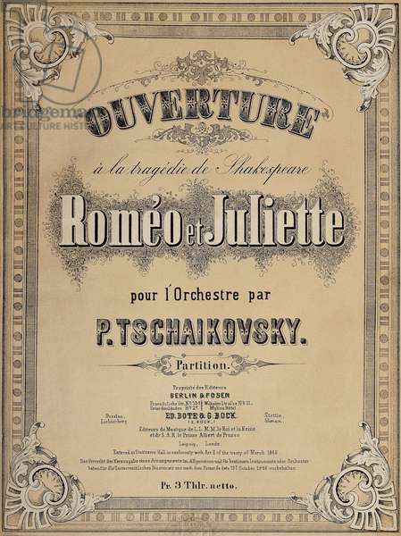 Title page of score for Romeo and Juliet overture, 1869, by Peter Ilyich Tchaikovsky (1840-1893), Bote and Bock edition, Berlin