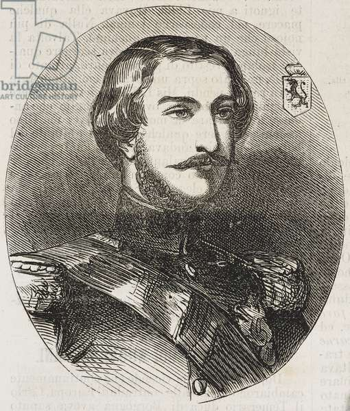 Portrait of Leopold of Saxe-Coburg-Gotha, became Leopold II (1835-1909), Duke of Brabant and King of Belgians, responsible for Belgium's brutal colonial policy in Congo, illustration from Il Giornale Illustrato, Year 3, No 5, February 3-10, 1866