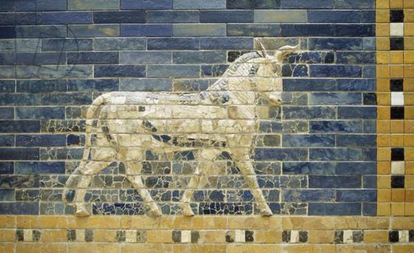 Bas-relief of horse along Processional Way, reconstruction in Pergamon Museum, Berlin, Germany, Babylonian civilization, 2nd millennium - 6th century BC, Detail