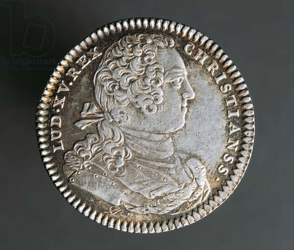 Silver coin, 1754, obverse, Louis XV. New France (Canada), 18th century