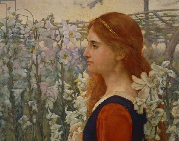 Portrait of Sister Pia, ca 1896, by Galileo Chini (1873-1956), oil on canvas, 82x60 cm. Italy, 20th century. Detail.