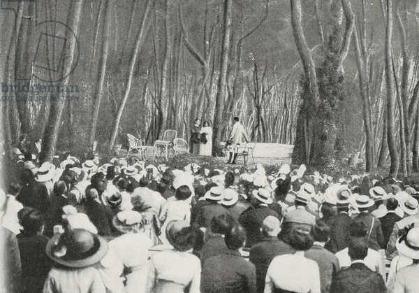 Performance of Dead City, by Gabriele D'Annunzio, in pine forest at Pescara, Italy, photograph by D'Alessandro, from L'Illustrazione Italiana, Year XL, No 35, August 31, 1913
