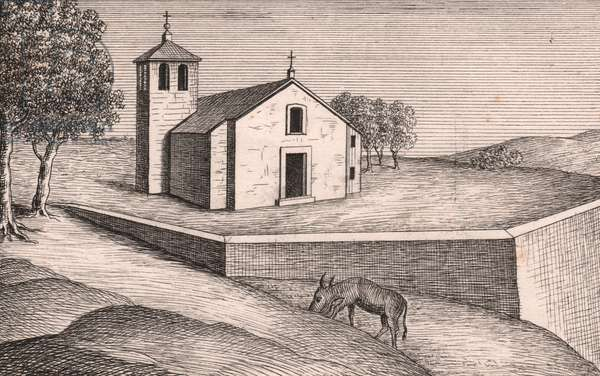 View of Church of Saint Lawrence, Grecchia, Lizzano in Belvedere, Emilia-Romagna, Italy, lithograph, circa 13x17 cm