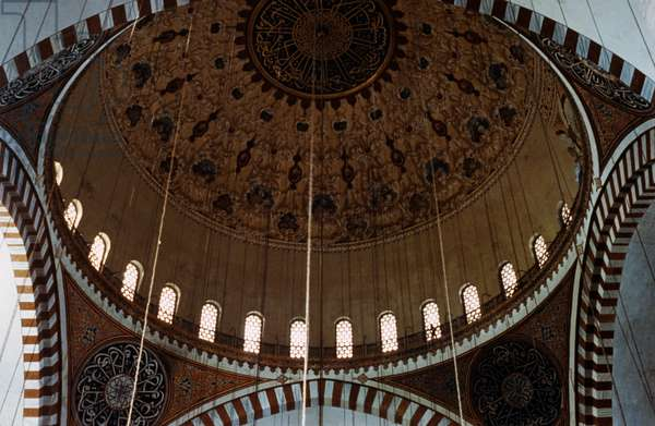 View from the inside of the dome of the Mosque of Suleiman the Magnificent, an Ottoman imperial mosque built between 1550 and 1557, Istanbul, Turkey