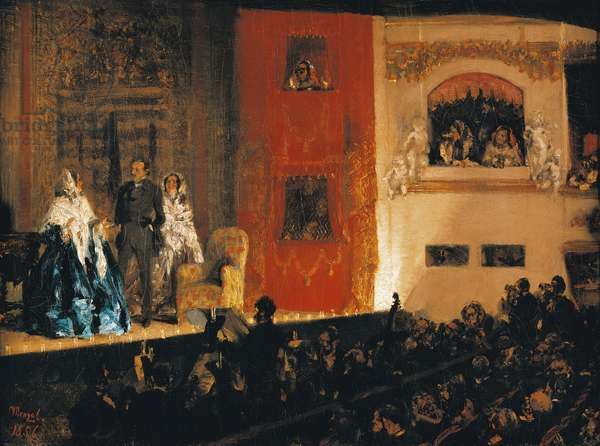 Theatre du Gymnase in Paris, 1856, by Adolph Menzel (1815-1905).
