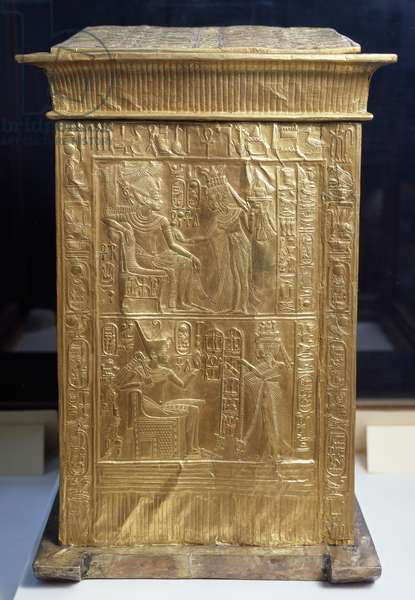 Ritual casket, model of sanctuary of goddess Nekhbet, decorated in bas-relief of scenes from life of king, carved wood and gold, from Tomb of Tutankhamun, Egyptian Civilisation, Middle Kingdom, Dynasty XVIII
