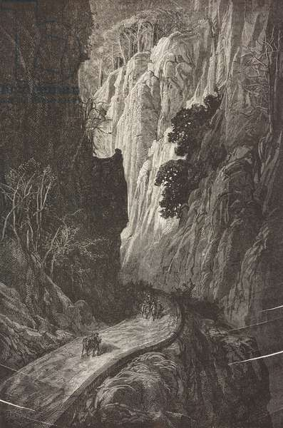 Despenaperros gorge in Sierra Morena, Castile-La Mancha, Spain, drawing by Dore, from Travels in Spain by Gustave Dore (1832-1883) and Jean Charles Davillier (1823-1883)