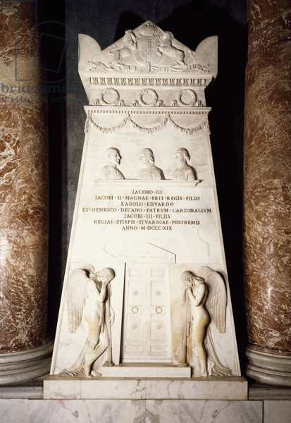 Cenotaph, 1817-1819, white marble stele, by Antonio Canova (1757-1822), St Peter's Basilica, Rome, Vatican City, 19th century