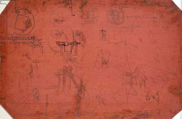 Studies for the flying machine, by Leonardo da Vinci (1452-1519), drawing 447E verso