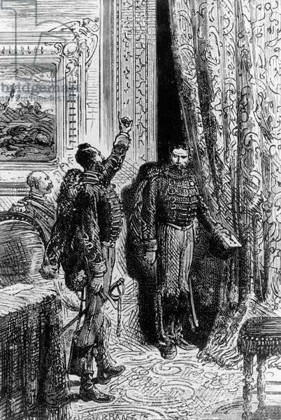 Illustration for Michael Strogoff, Courier of Czar, novel by Jules Verne (1828-1905), engraving after drawing by Jules-Descartes Ferat (born 1829), published by Paolo Carrara, 1907, Milan