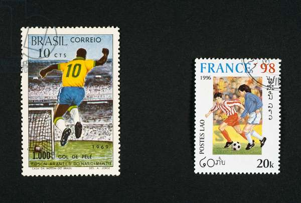 Left, postage stamp honoring thousands of goals scored by Pele, 1969, Brazil, right, postage stamp commemorating 1998 FIFA World Cup, 1996, Laos, Brazil and Laos, 20th century