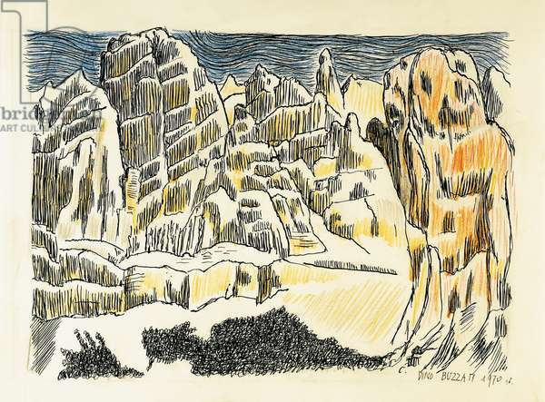 The Belluno mountains as seen from the artist's birthplace, 1970, drawing by Dino Buzzati (1906-1972). Italy, 20th century.
