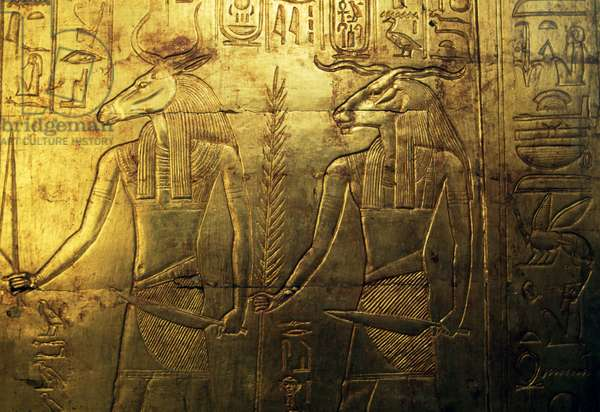 Deities, engraving of rear panel of third funeral chapel covered in gold, Treasury of Tutankhamun, Egypt, Egyptian civilization, New Kingdom, Dynasty XVIII