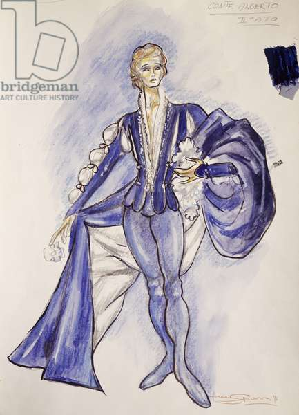 Costume sketch by Giarri for Count Albert, third act of opera Giselle, by Adolphe Charles Adam, 1971