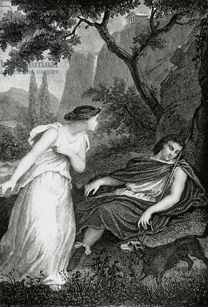 Meeting between Cymodoce and Eudorus, illustration for Martyrs, prose epic by Francois-Rene, vicomte de Chateaubriand (1768-1848), engraving after drawing by Pierre Gustave Eugene Staal (1817-1882), from Parisian edition published in 1859