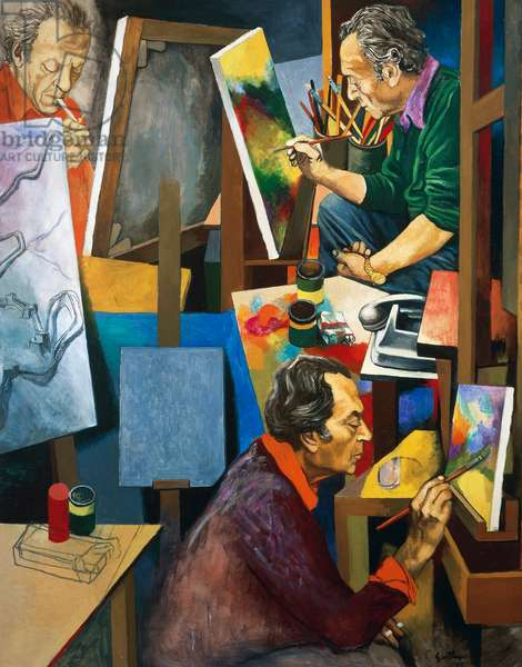 Workshop (Self portrait in the workshop), 1975, by Renato Guttuso (1911-1987), oil on canvas. Italy, 20th century.