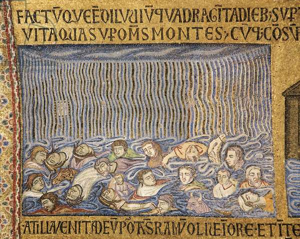 Italy, Venice, St Mark's Basilica, deluge, narthex mosaic,13th century