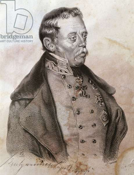 Equestrian portrait of Josef Radetzky (1766-1858), Austrian field marshal, Engraving