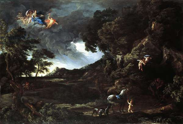 Landscape with the Union of Dido and Aeneas, c.1664-48 (oil on canvas)