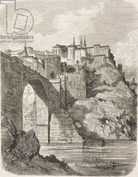 St Martin's bridge in Toledo, Castilla-La Mancha, Spain, drawing by Dore, from Travels in Spain by Gustave Dore (1832-1883) and Jean Charles Davillier (1823-1883)