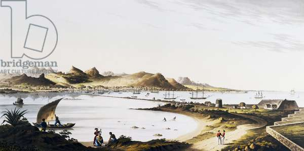 View of Port Louis in Mauritius, engraving, Mascarene, 19th century