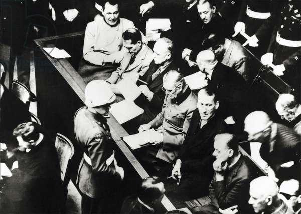 Hermann Goering, Rudolf Hess, Joachim Ribbentrop and Wilhelm Keitel at Nuremberg Trials, 1946, Germany, 20th century